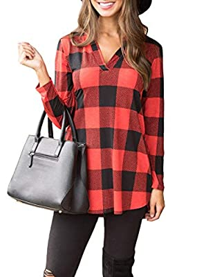 PINKMILLY Women Casual Long Sleeve Plaid Tunic Shirt V Neck Pullover Blouse Tops