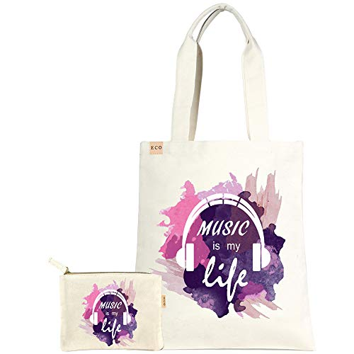 by you 2-pcs set ECO Cotton Canvas Pouch and Fashion Shopping Travel Tote Bag (2 pcs-Multi Music is my life)