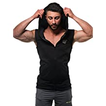 Jed North Men's Bodybuilding Fitted Sleeveless Tapered Zip Hoodie
