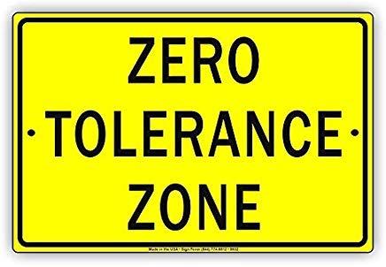 wendana Zero Tolerance Zone Cartel de Aluminio Negro y ...