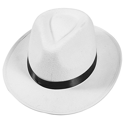 White Felt Fedora Gangster Hat - Mobster Costume Hats by Funny Party Hats (White Costume Pimp)