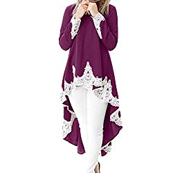 Liraly Womens Dresses Plus Size 2018 Womens Long Sleeved Casual O Neck Pullover Irregular Hem Solid Color Lace Dress Wine Red?� Us 10 Cn Xl
