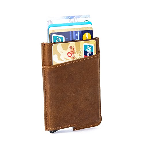 Dinghao RFID Blocking Slim Money Clip Aluminum Wallet Automatic Pop-up Card Case (Texas Brown)
