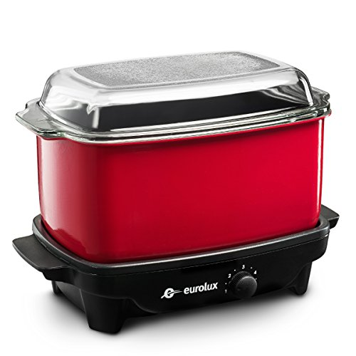 Silverline Audio 6 Quart Slow Cooker flat base with glass...
