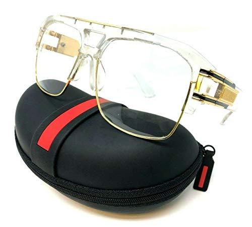Gazelle B-Boy Square Metal & Plastic Retro Aviator Sunglasses (Transparent & Gold Frame w/Case, ()