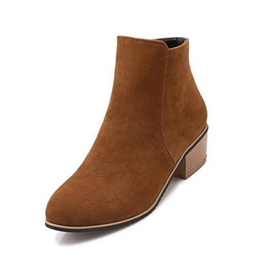 Heels high Solid Closed Brown Boots Allhqfashion Women's Imitated Suede Kitten Toe Round Ankle fw6xUpqT0