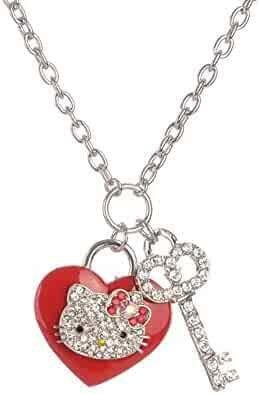 44b81707a Sweet Rhinestone Princess Hello Kitty Sweater Chain with Rhinestone  Elements Crystal Necklace Fashion Jewelry for Girls