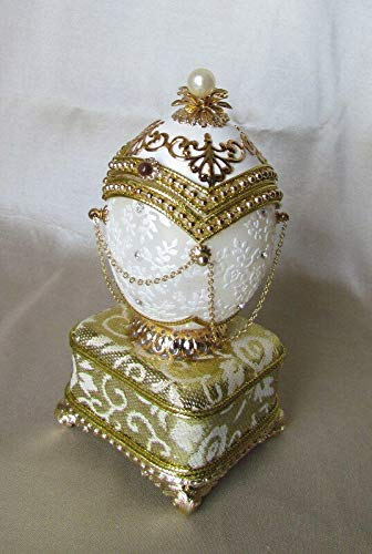 - Hand Painted Faberge Egg Style Decorative Hinged Jewelry Trinket Box Unique Gift Home Decor, Authentic Goose Egg on a Stand, Music, Hand-Detailed, Kingspoint Designs 20222