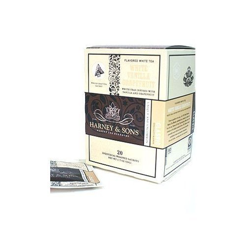 White Vanilla Grapefruit, Box of 20 Wrapped Sachets by Harney & Sons [Foods]