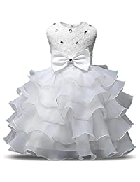 ADHS Newborn Kids Baby Flower Wedding Gowns Girl Dresses Special Occasion Dress
