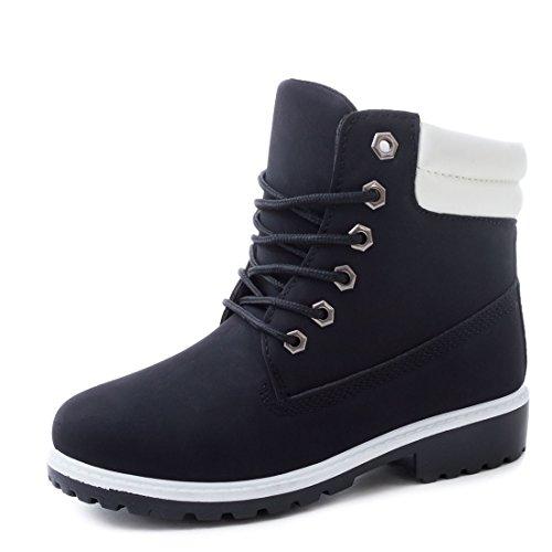 Trendige Unisex Damen Herren Schnür Stiefeletten Stiefel Worker Boots - auch in Übergrößen Schwarz Boston