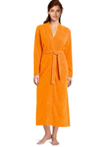 Towel Terry Kimono Robe, Women's & Men's Terry Kimono Bathrobe, Cotton Cover Up (L, Sunny Orange) (Orange Robe)