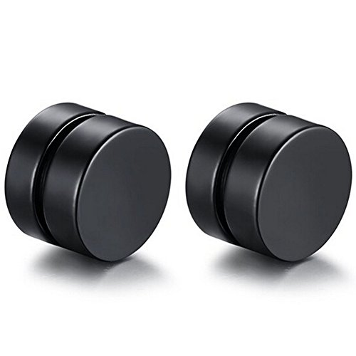 Stainless Steel Fake Ear Stud Magnetic Ear Clip Earrings Non-Piercing for Men Women (Black 6mm, (Metal Clip Earrings)