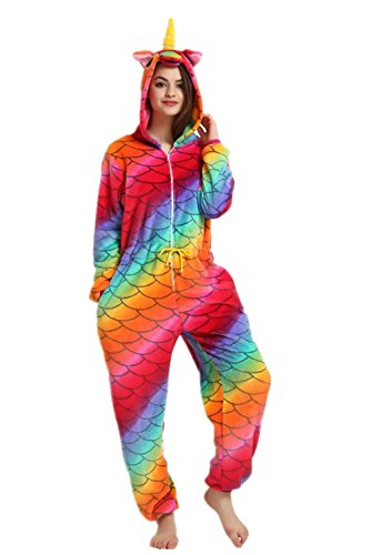 Missley Fish Scale Unicorn Pajamas with Zipper Halloween Party Jumpsuits Adult Animal Cosplay Costume -