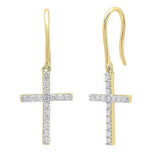 Dazzlingrock Collection 0.45 Carat (ctw) 18K Round White Diamond Ladies Cross Drop Earrings 1/2 CT, Yellow Gold ()