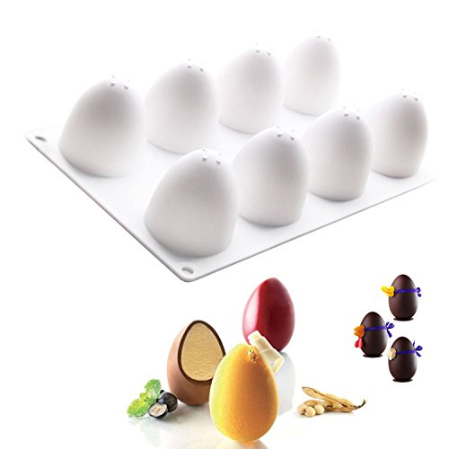 Silicone Mould 3D Egg Shape For Chocolate Easter Eggs Truffle Mousse Baking ()