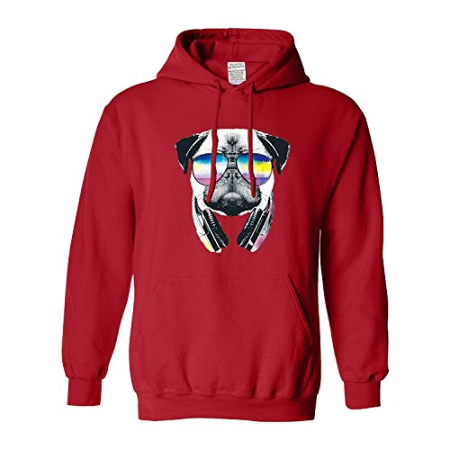 Youth Pug Music Revision Gift For Animal Lover Men's Hoodie(Medium,Red)