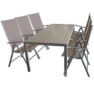 Terraza Jardín Mesa de aluminio, mesa polywood 205x 90cm + 6x silla de jardín Moderno con 2x 1Cordaje, para 7posiciones ajustables Respaldo, plegable, plata gris/taupe, respaldo alto de posición silla plegable