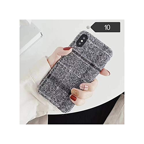 Cloth Grid Phone Case Lattice Cute Fashion Soft Back Cover Cases for iPhone 10 X Xs Max Xr 8 7 6S 6 Plus,for iPhone 7,10 Gray -  jimwili