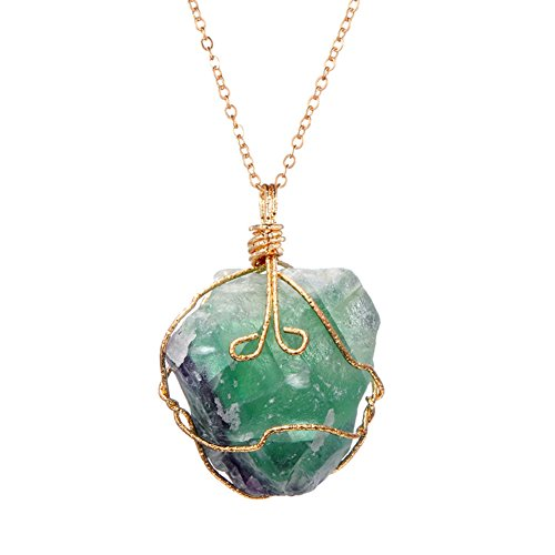 ALoveSoul Gifts Handmade Irregular Crystal Stone Necklace Gemstone Pendant,Green