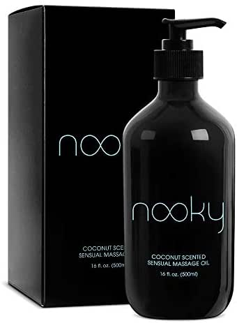 Nooky Coconut Massage Oil. with Fractionated Coconut Oil and Essential Oils. for Massaging 16 Ounce