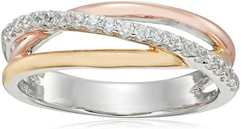 Rhodium, 18k Yellow Gold and Rose Gold Plated Sterling Silver White Cubic Zirconia Ring