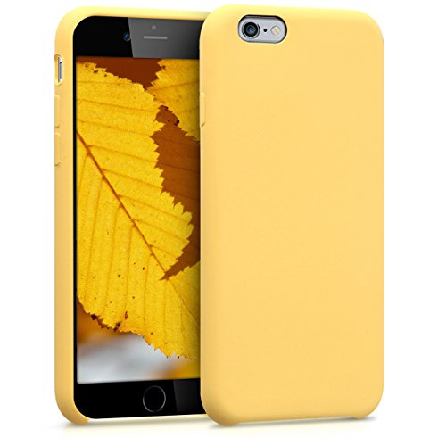 kwmobile TPU Silicone Case for Apple iPhone 6 / 6S - Soft Flexible Rubber Protective Back Door Cover - Yellow (Protective Back Cover)