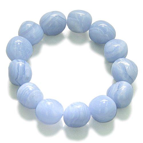 - Amulet Healing Blue Lace Agate Tumbled Crystals Gemstone Bracelet