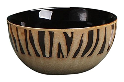 StealStreet Zebra Stripe Print Modern Dinner Bowl, Tan/Black, 5.5