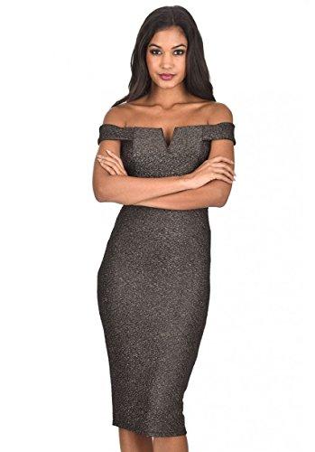 AxParis AX Paris Women's Off The Shoulder Sparkle Midi Dress(Black, Size:6) (Sparkle Off Shoulder)