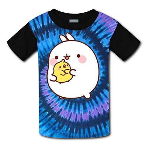 Clofun Child T-shirts Creative Cute Mo-Lang Printed Short Sleeve Tee Shirt Black
