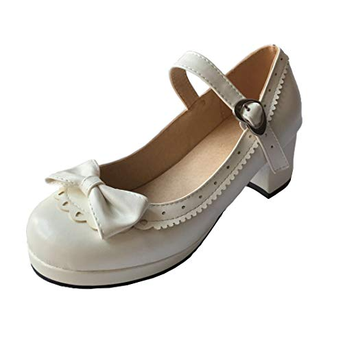 ELFY Women's Cute Lolita Cosplay Shoes Bow Mid Chunky Heel Mary Jane Pumps White 6.5