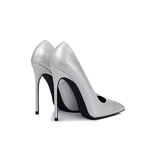 Haut Night Silver Verni 12cm Court Club Profondes En Argent Peu Talons à Cuir Chaussures Dames Shoes Talons Femmes Tip nfq0F0