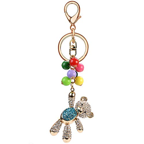SA@ Lovely Fashion Bling Animal Featured Diamond Crystal Rhinestone Keychain Key Chain Purse Handbag Bag Decoration Gift (Blue Teddy Bear)
