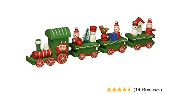 OULII Cute Wooden Mini Train Ornaments Kids Gift Toys for Christmas Party Kindergarten Decoration Green SG/_B075DBMJHD/_US