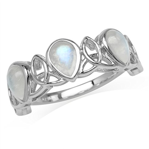 Moonstone Celtic Knot - 3-Stone Natural Pear Shape Moonstone 925 Sterling Silver Triquetra Celtic Knot Ring Size 10