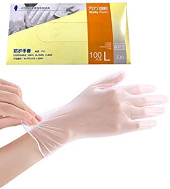 200 Pc Disposable Vinyl Powder-Free Gloves Clear Health Protective PVC Glove Clear Transparent Latex Free for Supermarket Home Kitchen Bathroom (Large) (Vinyl L x 2 packs)