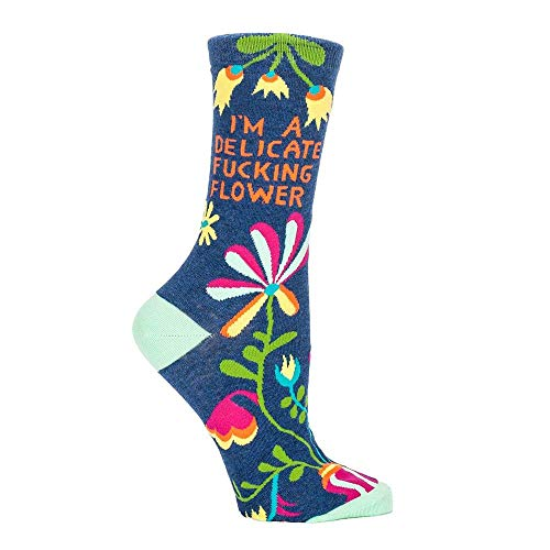 (Blue Q Socks, Women's Crew, I'm A Delicate F--king Flower Women's shoe size 5-10(One size))