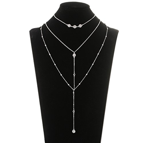 Lariatneck Multi Layered Necklace Lariat Choker Long Drop Layer Necklace Set for Women Crystal Disc Silver