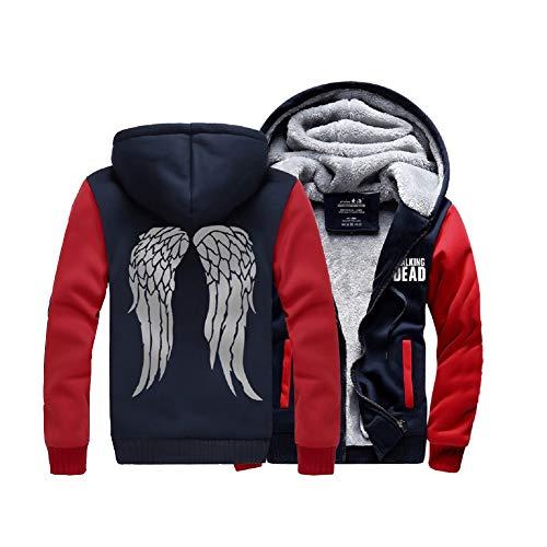Cosfunmax TWD Daryl Dixon Wing Hoodie Fleece Sweatshirt Plus Velvet Hoody Coat Jacket M