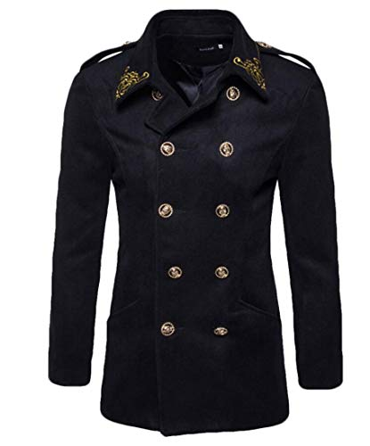 Keaac Men's Fashion Gold Embroidered Double Breasted Cotton Wool Blend Trench Coat Pea Coat Black ()