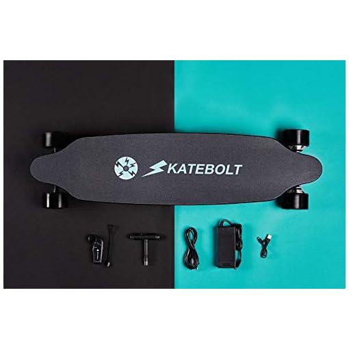 skatebolt Tornado Skateboard électrique avec télécommande, 36-40 km/h en Vitesse de Pointe,maximale de 25-30km Variant des Poids différents, Moteur Double de 500 W, érable 8 Couches avec Planche