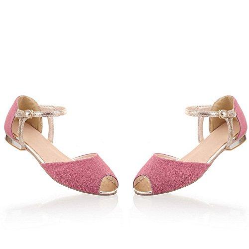 LongFengMa del rosa sandalias de toe color Correa planas Mujeres la peep tobillo de moda de xYqSHqwd