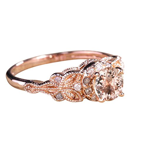 - Limited Time Sale 1.25 Carat Peach Pink Morganite (Round Shaped Morganite) and Diamond Engagement Ring in 10k Rose Gold Jewelry