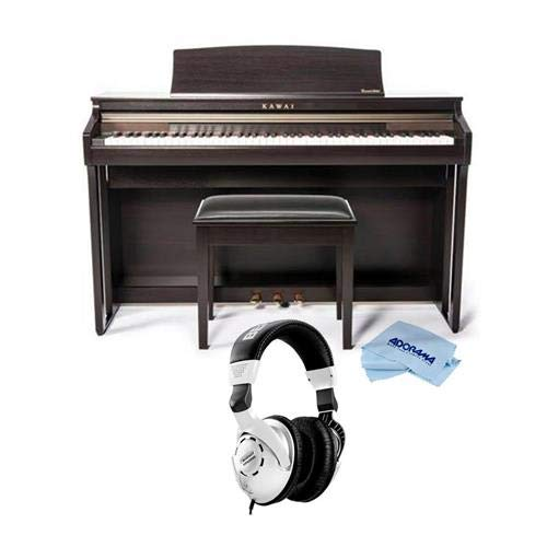 Kawai CA48 88-Key Grand Feel Compact Digital Piano with Bench, Rosewood - With Behringer HPS3000 High-Performance Studio Headphones, Microfiber Cloth