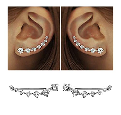 7 Crystals Ear Cuffs Hoop Climber S925 Sterling Silver Earrings Hypoallergenic Earring (White)
