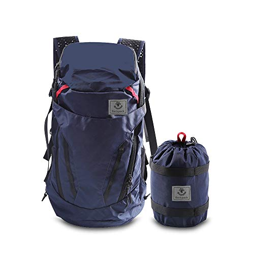 4MONSTER Ultralight Travel Backpack 28L Foldable Hiking Camping School Sports Packs Laptop Daypack Outdoor Casual Waterproof Bag Navy Classic Sporty Style for Men Women