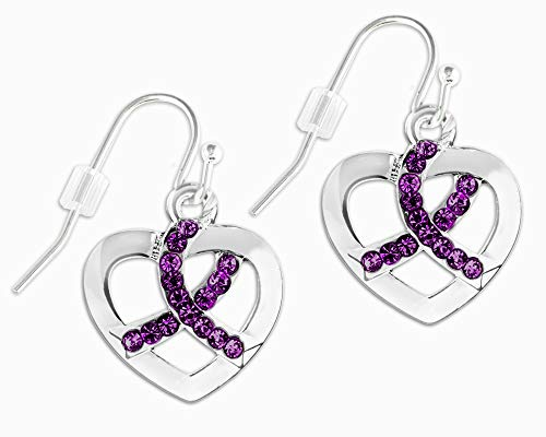Crystal Heart Ribbon - Purple Ribbon Crystal Heart Hanging Earrings in a Gift Box (1 Pair of Earrings - Retail)