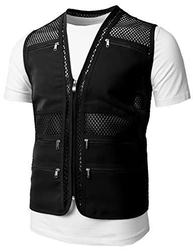 H2H Mens Casual Work Utility Hunting Travels Sports Mesh Vest With Pockets Black US XL/Asia 2XL (KMOV086) (Black Hunting Vest)