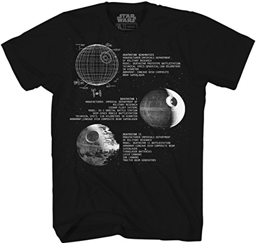 Star Wars Death Star Darth Vader New Hope Return Jedi Empire Strikes Adult Men's Graphic Tee T-Shirt Apparel (X-Large) Black